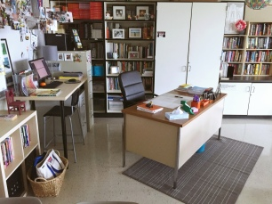 My teacher work area in the back of the room