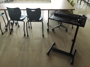 New mobile laptop station replaces front teacher desk